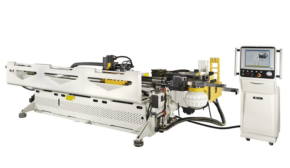 SB-51X4A-3SV弯管机配备有4轴數控,具有多层拉弯 + 滚弯 + 1D助推弯管功能,弯管能力为管径 50.8mm